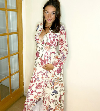 Hope & Ivy Maternity wrap front maxi dress with lace neckline in floral print