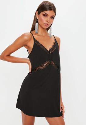 Missguided Tall Black Lace Insert Cami Dress