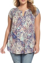 Daniel Rainn Plus Size Women's Split Neck Floral Print Top