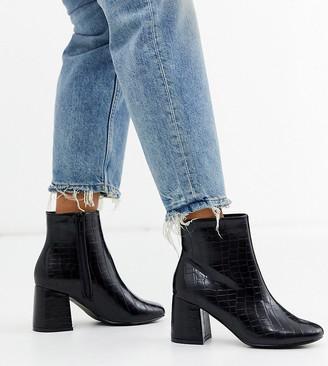 New Look wide fit croc block heel ankle boot in black
