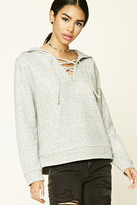 Forever 21 FOREVER 21+ Heathered Lace-Up Hoodie