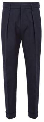 BOSS Hugo Relaxed-fit pants in cotton cropped length 34R Open Blue