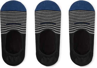 Marcoliani Milano Three-Pack Invisible Touch Striped Stretch Pima Cotton-Blend No-Show Socks