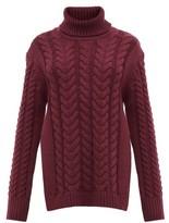 Tibi Cutout-back Cable-knit Wool-blend Sweater - Womens - Burgundy
