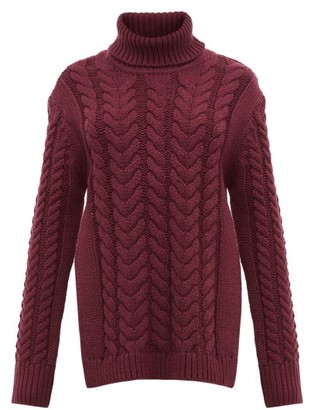 Tibi Cutout-back Cable-knit Wool-blend Sweater - Burgundy