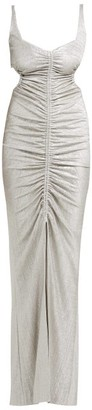 Galvan Sahara Ruched Lame Dress - Silver