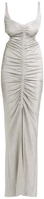 Galvan Sahara Ruched Lame Dress - Womens - Silver
