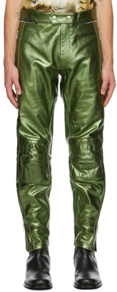 Dries Van Noten Green Leather Metallic Zip Trousers