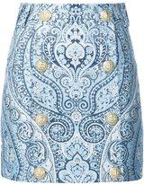 Balmain buttoned paisley mini skirt