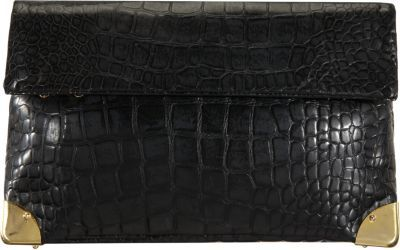 Golden Lane Croc-Stamped Small Duo Clutch