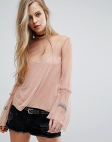 Pull&Bear Fluted Sleeve Mesh Top