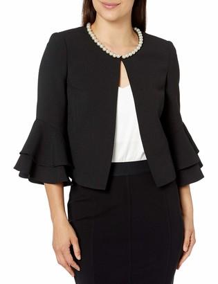 Tahari ASL Women's Petite Pearl Neck Ruffle Sleeve Jacket