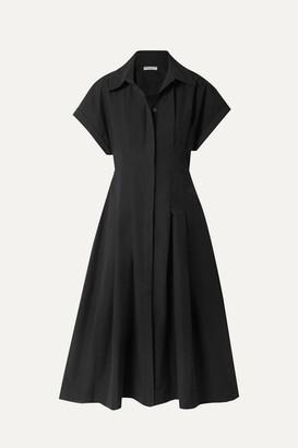 Three Graces London Alette Cutout Cotton-poplin Midi Dress - Black