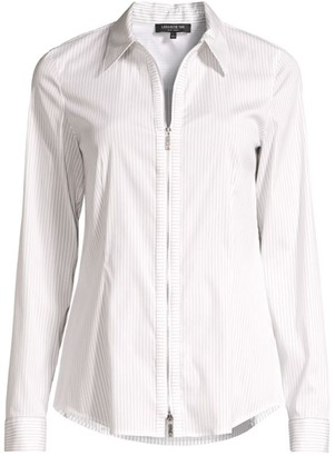 Lafayette 148 New York Connor Pinstripe Zip-Front Shirt
