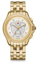 Michele Belmore Chronograph Diamond & Goldtone Stainless Steel Bracelet Watch