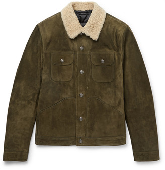 Tom Ford Shearling-Trimmed Suede Jacket - Men - Green