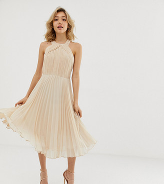 ASOS DESIGN Petite pleated bodice halter midi dress