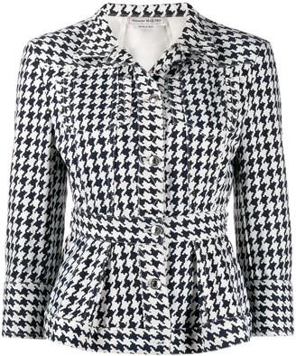 Alexander McQueen Houndstooth Peplum Denim Jacket