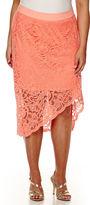 Bisou Bisou Asymmetrical Lace Pencil Skirt - Plus