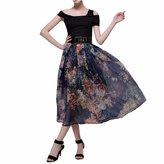 QIYUN.Z New Chiffon Floral Printed High Waist Women Summer OL Midi Skirts Jupes