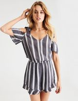 American Eagle Outfitters AE Flutter-Sleeve Cold Shoulder Romper
