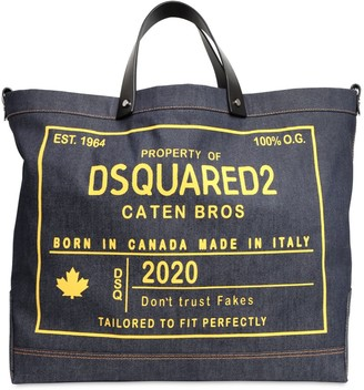 DSQUARED2 Printed Cotton Denim Tote Bag