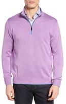David Donahue Men's Silk Blend Quarter Zip Sweater