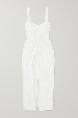 Jason Wu Collection Knotted Sateen Midi Dress - White