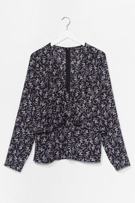 Nasty Gal Womens Floral or Less V-Neck Plus Blouse - Black - 16