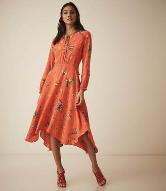 Reiss Bay - Floral Midi Dress in Coral