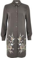 River Island Womens Grey grey embroidered longline shirt