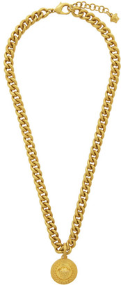 Versace SSENSE Exclusive Gold Laurel Medusa Pendant Necklace