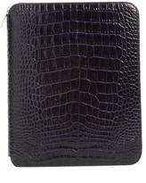 Smythson Mara Croc Embossed Zip Folder & A5 Notebook - Blue