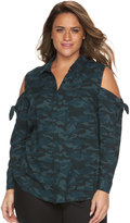 Rock & Republic Plus Size Camouflage Cold-Shoulder Shirt