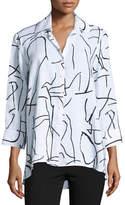 Finley 3/4-Sleeve Graffiti-Print Trapeze Top, White/Black