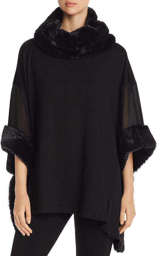 Capote Sheer-Sleeve Faux-Fur-Trimmed Poncho Top