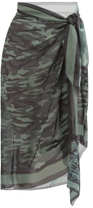 Solid & Striped Camouflage-print Chiffon Sarong - Camouflage
