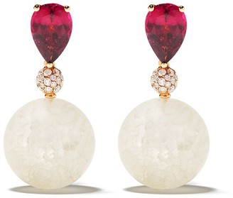 de Grisogono 18kt Rose Gold Quartz, Rhodolite And Diamond Drop Earrings