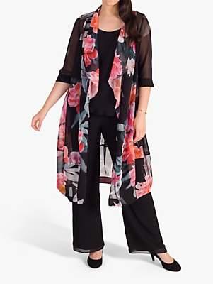 chesca Peony Print Shawl Collar Chiffon Coat, Black/Pink
