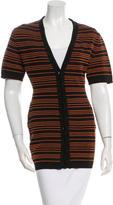 Alaia Striped Short Sleeve Cardigan