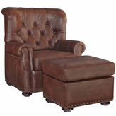 Asstd National Brand Miles Chair Ottoman Faux Leather Roll-Arm Chair