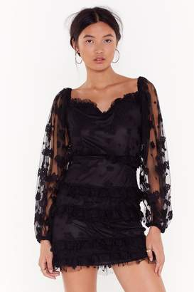 Nasty Gal Womens Get Me Outta Sheer Floral Puff Sleeve Dress - black - 10