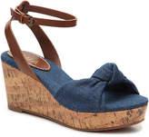 Mia Women's Diane Wedge Sandal -Blue Denim & Faux Leather