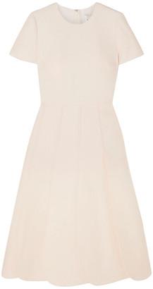 Valentino Pleated Wool And Silk-blend Grain De Poudre Midi Dress