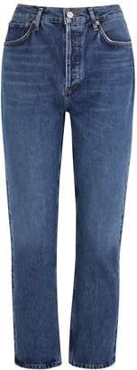 A Gold E Agolde AGOLDE Riley Blue Straight-leg Jeans