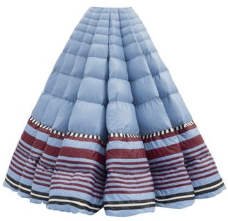 Moncler 1 Pierpaolo Piccioli - Striped-hem Pleated Down-filled Maxi Skirt - Womens - Blue Multi
