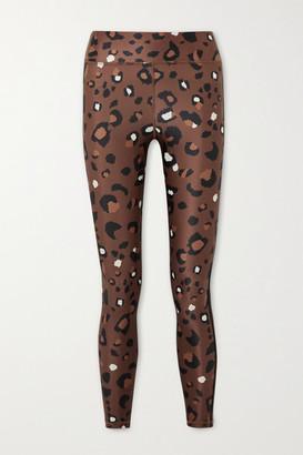 The Upside Cropped Striped Leopard-print Stretch Leggings - Brown