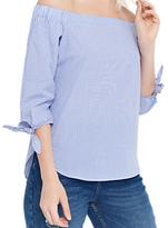Oasis Ticking Stripe Long Sleeve Bardot, Multi/Blue