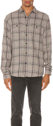 Frame Long Sleeve Double Flap Pocket in Grey Multi   FWRD