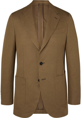 Caruso Butterfly Slim-Fit Cotton, Linen And Silk-Blend Suit Jacket